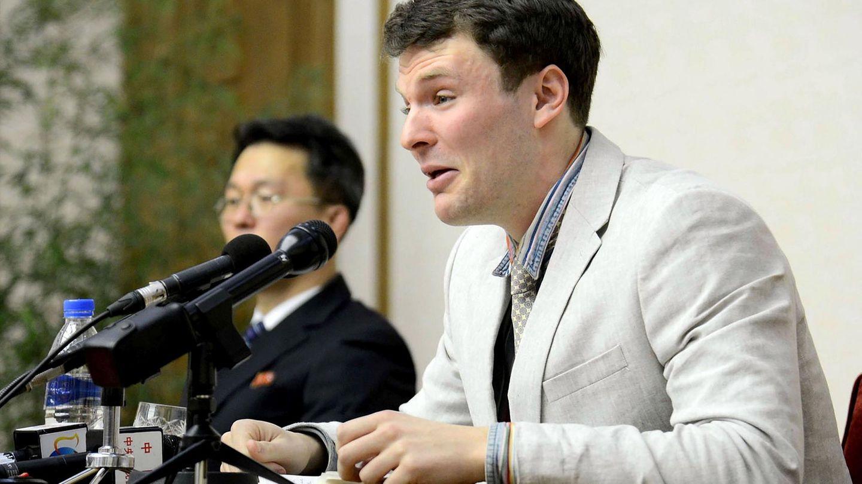 Otto Warmbier auf einer Pressekonferenz im März 2016 in Nordkorea