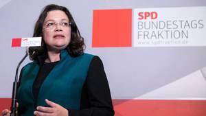 """Kampfansage an Union: Andrea Nahles bedauert ihren """"In die Fresse""""-Spruch"""