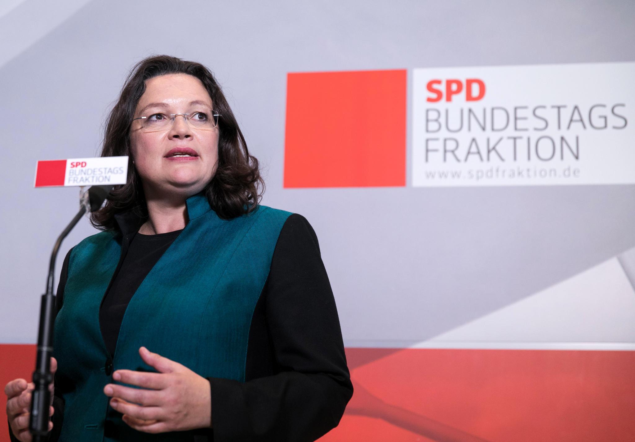 "Andrea Nahles SPD Fraktionsvorsitzende Bedauert ""In Fresse"