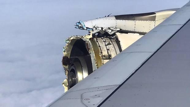 Triebwerk Nummer 4 des Airbus A380 von Air France: BeimGP7000-Antrieb des Herstellers Engine Alliance fehlt komplett der vordere Teil.