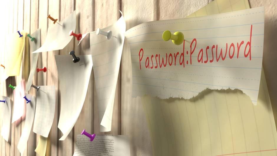 Ein Passwort, das an einer Pinnwand hängt