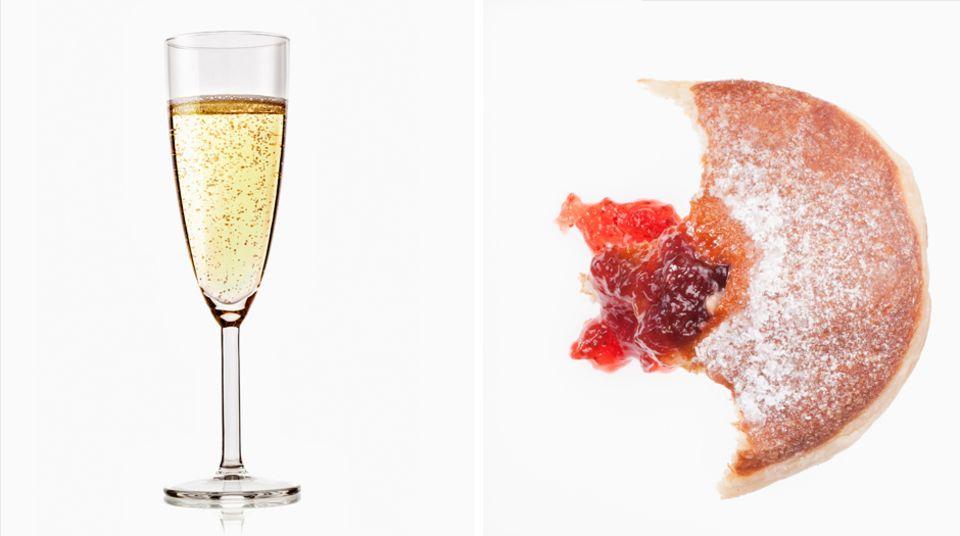 Sekt  Klein, aber oho: Ein einzelnes Glas Sekt (100 Millilter) bringt es auf 102 Kilokalorien. Das entspricht in etwa der Menge eines halben Berliners (95 Kilokalorien).