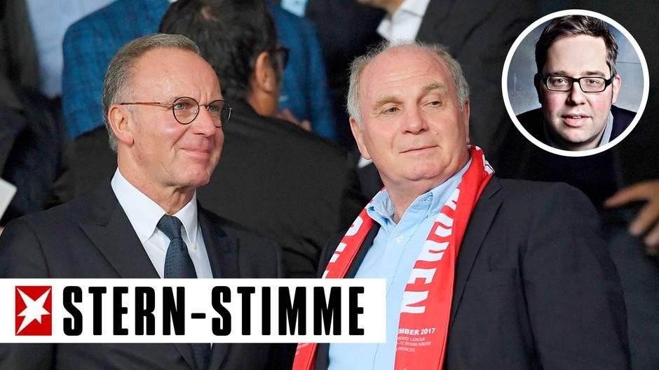 FC Bayern München: Karl-Heinz Rummenigge und Uli Hoeneß auf der Tribüne der Berliner Olympiastadions
