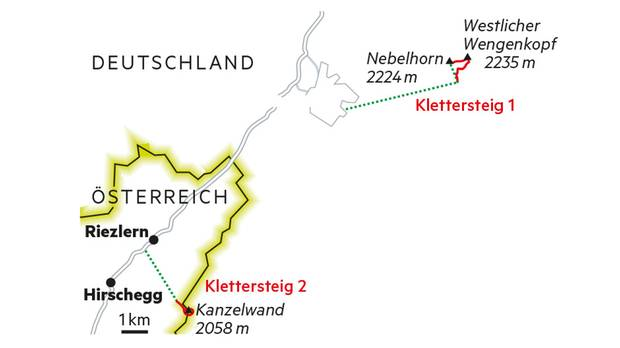 Unterwegs auf dem Hindelanger und dem Walser Klettersteig bei Oberstdorf  1. Anreise Vom Münchner Flughafen ist man nach Oberstdorf gut zwei Autostunden unterwegs. Es fahren aber auch direkte Züge aus ganz Deutschland bis in den Ort.  2. Ausrüstung In der Alpinschule Oberstdorf kann man sich eine komplette Klettersteig-Ausrüstung leihen und Bergführer buchen. alpinschule-oberstdorf.de  3. Einkehren Im Edmund-Probst-Haus am Nebelhorn gibt es gute Hausmannskost und leckere vegetarische Currys. edmund-probst-haus.de  4 Übernachten Wem das Bettenlager im Edmund-Probst-Haus zu puristisch ist, der übernachtet im Hotel Walserstuba. walserstuba.at