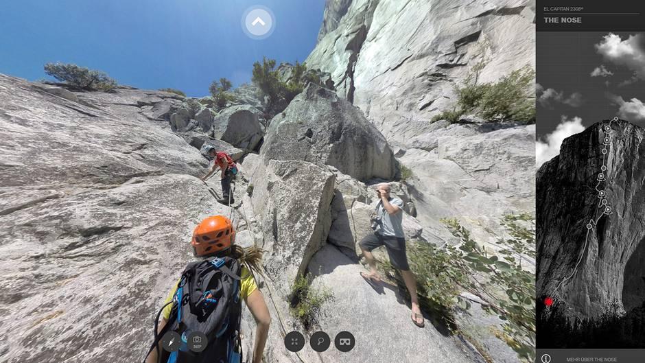 """Einstieg zur legendären Kante """"The Nose"""", der 1000 Meter langen Kletterroute am El Capitan im kalifornischen Yosemite Valley. Zur Seilschaft gehören Caro North, Whit Magro und Tony Brown."""