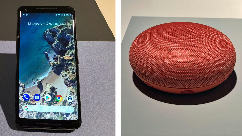 Google Pixel 2 XL und Home Mini auf einem Tisch