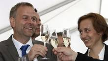 Partei-Vize Beatrix von Storch und der AfD-Landesvorsitzende in Mecklenburg-Vorpommern, Leif-Erik Holm