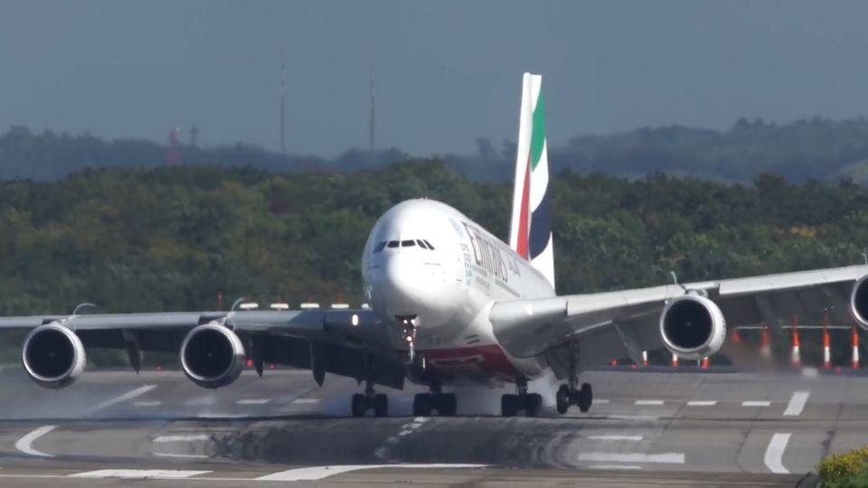 """Sturm """"Xavier"""": Spektakuläres A380-Video: Das sagen Verband und Airline zur holprigen Landung"""