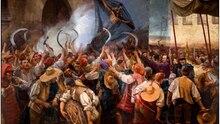 Wütende Landarbeiter ziehen am Fronleichnamstag 1640 durch Barcelona und protestieren gegen die Regierung in Madrid