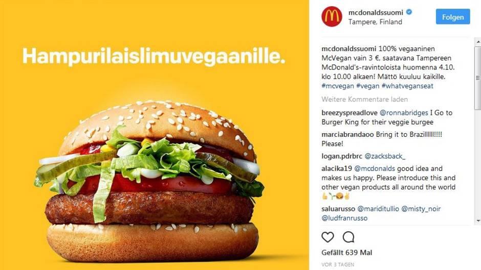 mcdonald 39 s testet einen veganen burger so reagieren die kunden. Black Bedroom Furniture Sets. Home Design Ideas