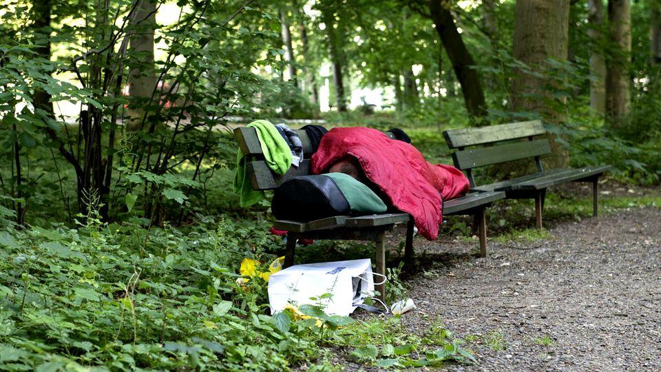 Obdachloser im Tiergarten in Berlin