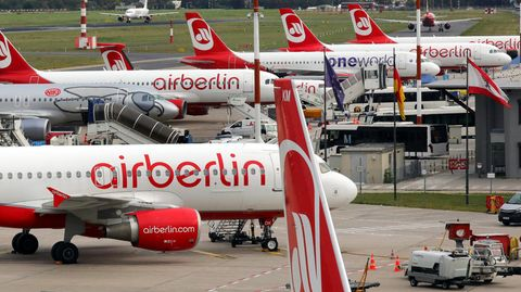 Ab Ende Oktober vermutlich am Boden: die Jets der insolventen Fluglinie Air Berlin.