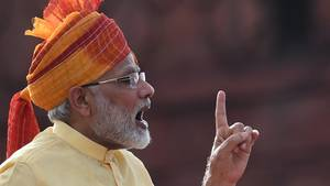 Der indische Premier Narendra Modi bei den Feierlichkeiten zum 70. Jahrestag der Beendigung der britischen Kolonialherrschaft