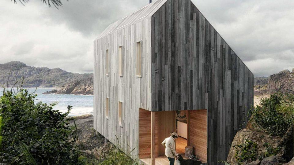 Die Form der Surfer-Hütte ist einfach, aber nicht auf Sparsamkeit optimiert. Das sieht man hier am Eingangsbereich.