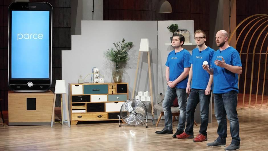 """DHDL: Die Gründer von """"Parce"""" Nikolaj Klebert, Malte Janduda und Eugen Pflüger (v.l.)"""