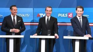 FPÖ-Chef Heinz-Christian Strache, Bundeskanzler Christian Kern (SPÖ) und ÖVP-Chef und Außenminister Sebastian Kurz
