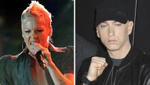 Die Sängerin Pink und der US-Rapper Eminem auf einem Bild