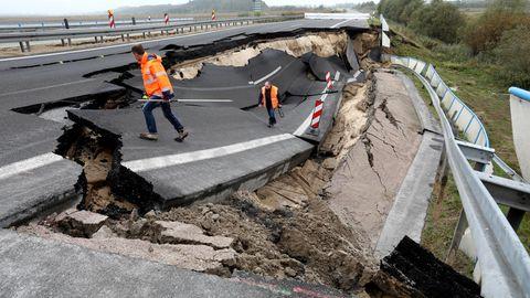 Abgeknickt und eingebrochen: Die A20 Richtung Rostock