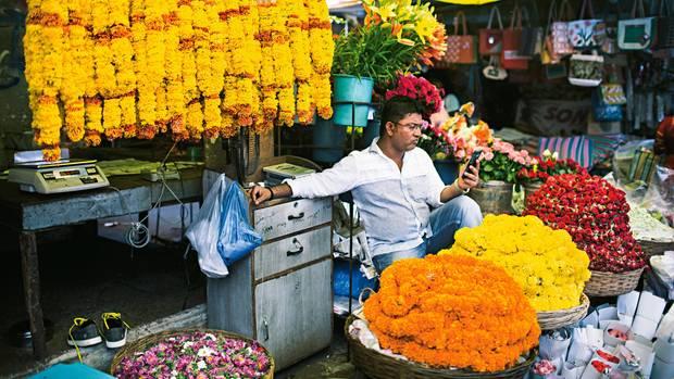 Konsum und Karma: Ein Blumenhändler auf dem Markt von Panaji vertreibt sich die Zeit
