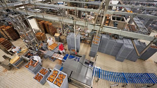 Auch die Produktion bei Bäcker Görtz in Ludwigshafen gilt als handwerklich. Hier aber bestimmen die Maschinen den Takt