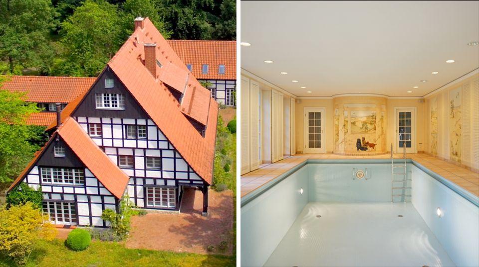 Luxusimmobilie bei Bielefeld: 1000 Quadratmeter mit Pool: Ex-Middelhoff-Villa sucht neuen Besitzer - für 2 Millionen Euro