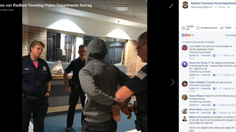 Er hielt das Versprechen und stellte sich der Polizei - dennoch endete die Challenge für den 21-Jährigen in Handschellen