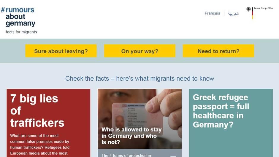 Ein Screenshot der Homepage #RumoursAboutGermany zeigt bunte Kacheln mit Aussagen, mit denen Schleuser Flüchtlinge locken