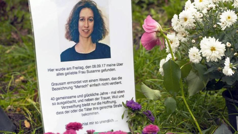 Die Gedenkstätte für Susanne Fontaine im Tiergarten Berlin, wo die 60-Jährige am Abend des 5. September überfallen und getötet wurde.