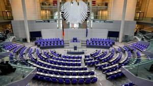 Der Plenarsaal des Bundestags vor der konstituierenden Sitzung