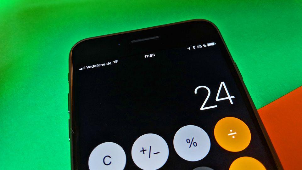iPhone Taschenrechner unter iOS11 auf einem iPhone 8 Plus