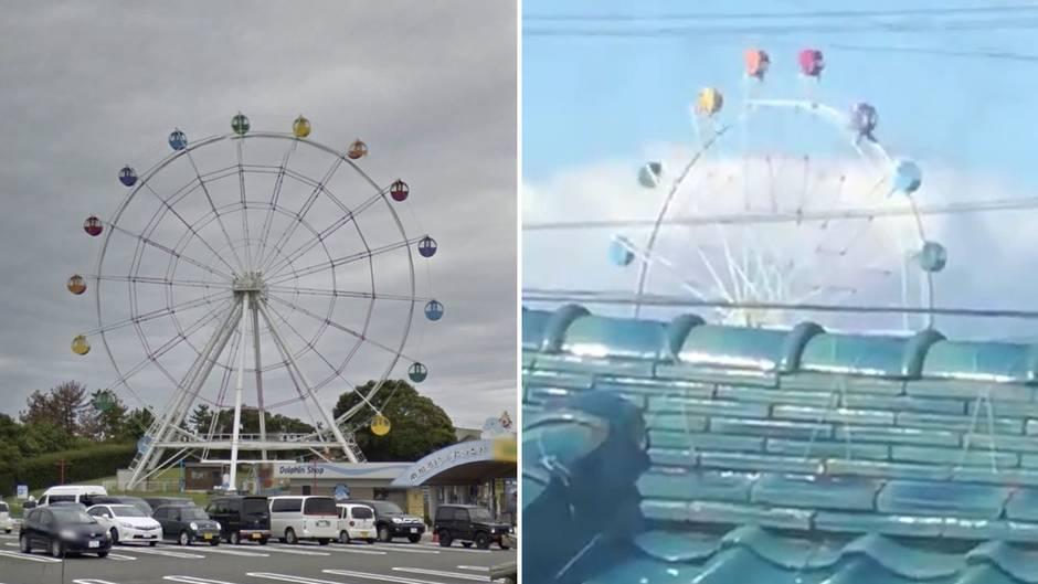 Surreales Schauspiel: Taifun wirbelt Riesenrad-Gondeln durch die Luft
