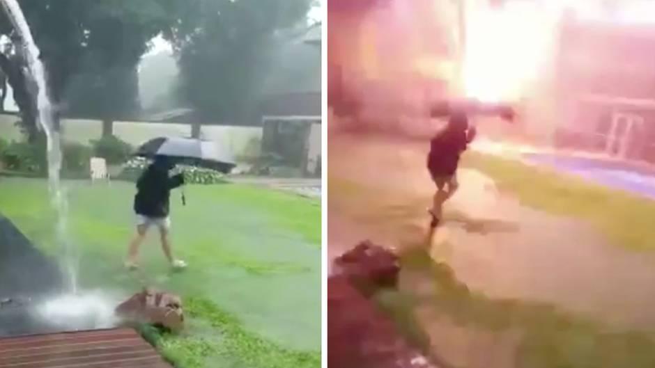 Unglaubliche Aufnahmen: Blitz schlägt direkt in Regenschirm eines Jungen ein