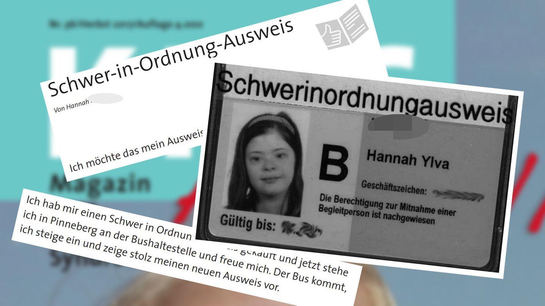 """Die Schülerin machte aus ihrem Schwerbehindertenausweis einen """"Schwer-in-Ordnung-Ausweis""""."""