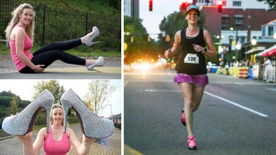 Weltrekord: Frau läuft kompletten Marathon in High Heels