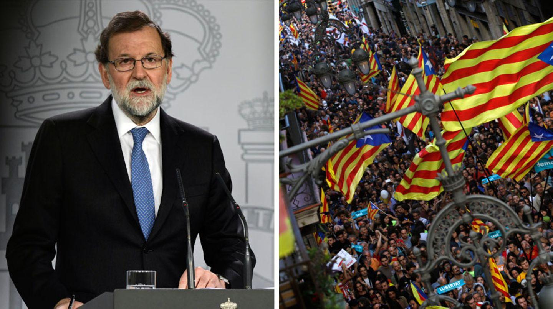 Während der spanische Ministerpräsident Mariano Rajoy seine Maßnahmen verkündete, gingen in Katalonien Tausende auf die Straße