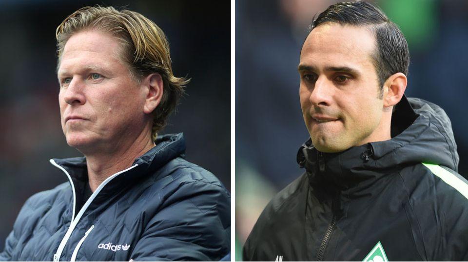 Bundesliga-Trainer Markus Gisdol (Hamburger SV) und Alexander Nouri (Werder Bremen)