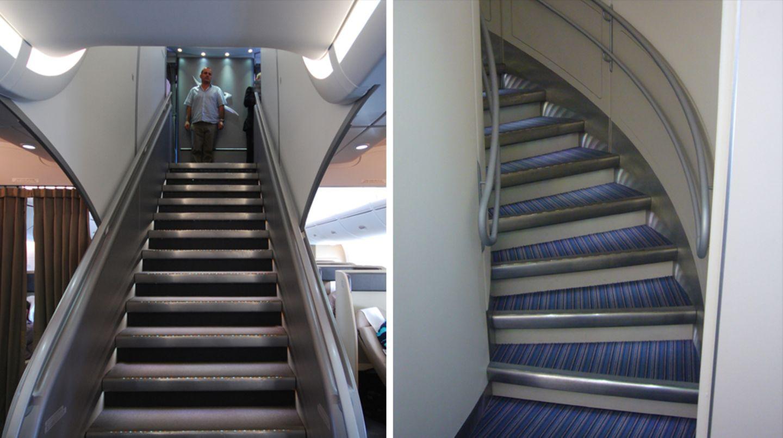 Das besondere an der A380: Das Großraumflugzeug besteht aus zwei durchgehenden Passagierdecks. Im vorderen Teil führt eine Treppe zum Upper Deck mit der Business Class (linkes Bild: Qantas), im Heck eine gebogene Treppe nach oben (rechtes Bild: Singapore Airlines).
