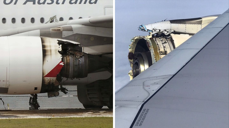 Als größte Zwischenfälle in dem zehnjährigen Dauerbetrieb des Airbus A380 gelten zwei Triebwerks-Probleme: Im November 2010 explodierte vier Minuten nach dem Start in Singapur ein Rolls-Royce-Triebwerk einer Qantas-Maschine (linkes Bild). Trümmerteile durchschlugen die Triebwerksverkleidung und den Flügel. Der Crew gelang jedoch die sichere Landung wieder in Singapur. Ende September 2017 riss bei einemAir-France-Flug von Paris nach Los Angeles am rechten Außentriebwerk der Fan des GP7000-Triebwerks. Über Grönlandlöste sich die Ummantelung der Turbine (rechtes Bild). In beiden Fällen kam kein Mensch zu Schaden.