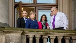 Christian Lindner (FDP), Angela Merkel (CDU), Katrin Göring-Eckardt (Grüne) und Peter Altmaier (CDU