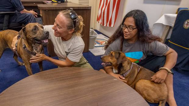 Zwei braungebrannte Frauen sitzen an einem runden Holztisch und liebkosen ihre Hunde, mit denen sie monatelang auf See trieben