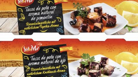 Die Etiketten der Kalmar-Konserven von Conservas Selectas de Galicia S.L. zeigen eine spanische Beschriftung neben Tellern