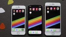 Das Gehäuse des iPhone X (Mitte) ist etwas größer als beim iPhone 8 (links), der Bildschirm ist aber größer als bei dem Plus-Modell (5,8 vs. 5,5 Zoll). Damit vereint es das Beste aus beiden Welten.