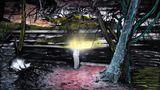 Die Bewohner des Eilands leben sehr rückständig. Es fehlt an vielen einfachen Dingen, beispielsweise einer funktionierenden Müllentsorgung. Die Einwohner verbrennen daher ihren Müll.  Auf dieser Aufnahme spielt ein Kind mit Feuer. Die Schwarz-Weiß-Aufnahme ließ Fotografin Sanne De Wilde im Anschluss von einem Farbenblinden kolorieren. Das verfremdete Bild zeigt eine Momentaufnahme aus der Sicht eines Farbenblinden: Der Boden leuchtet rot, der Baumstamm erstrahlt in einem kühlen Blau.