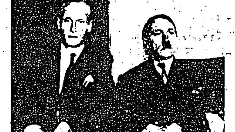 """Grobkörnig: Hier sollen SS-Sturmbannführer Philipp Citroen (l.) und Adolf Schüttelmayer 1954 in Kolumbien zu sehen sein. (Ausschnitt aus dem CIA-Dokument """"Hitler, Adolf 0003"""" von 1955)"""