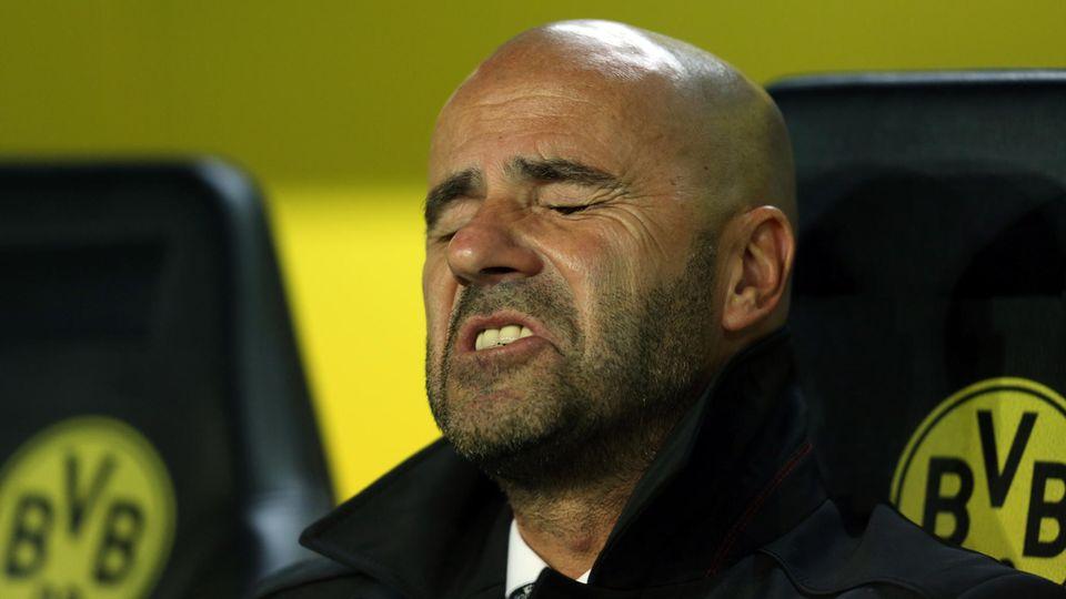 Peter Bosz, Trainer von Borussia Dortmund, sitzt auf der BVB-Bank und verzieht leidend das Gesicht