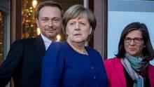 Bundeskanzlerin Angela Merkel, FDP-Vorsitzender Christian Lindner und die Grünen-Fraktionsvorsitzende Katrin Göring-Eckardt