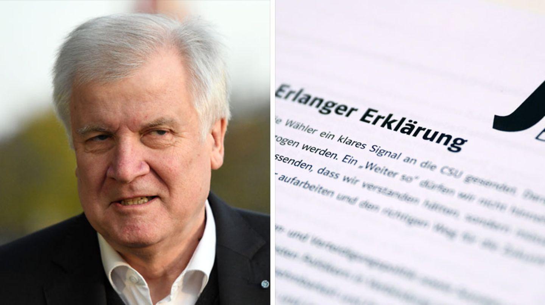 """Die Junge Union Bayern stellt sich in ihrer """"Erlanger Erklärung"""" offen gegen CSU-Chef Horst Seehofer"""