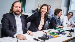 Anton Hofreiter und Katrin Göring-Eckardt, die Fraktionsvorsitzenden der Grünen, bei einer Sitzung der Partei in Berlin