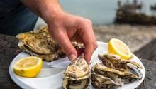 """Austern aus Arcachon  Schlürfen für Genießer: Fangfrische Austern (Huitres) haben das ganze Jahr über Saison. Austernzucht gibt es vor allem an den Küsten der Charente, der Bretagne und der Normandie sowie im Becken von Arcachon in Aquitanien. Wir empfehlen Schlemmerurlaubern auch den Besuch einer Austernzuchtanlage. Selbstverpfleger mit echtem Faible für Austern kaufen eine """"bourriche"""" – so heißen die länglichen oder rechteckigen Körbe mit 12 Dutzend Austern."""
