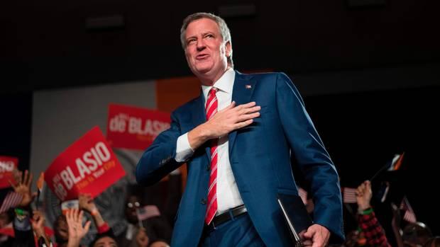 Bill de Blasio feiert seine Wiederwahl als Bürgermeister von New York